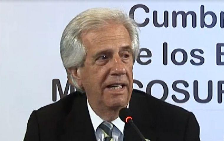 """Vázquez aseguró que Uruguay apoya y participa """"muy activamente"""" en todos los procesos de negociación que lleva adelante el Mercosur"""